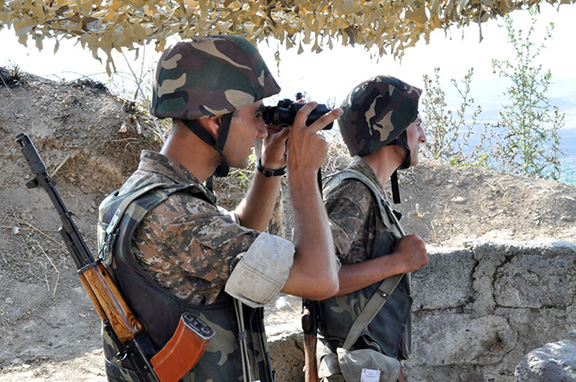 Armenian soldiers at an army post at the Artsakh-Azerbaijan border (Source: Ministry of Defense of the Republic of Armenia)