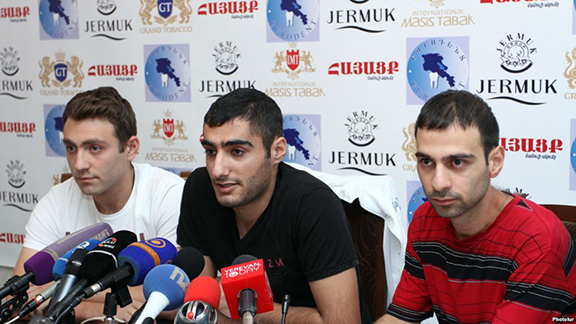 Leaders of the No To Plunder movement at a press conference in Yerevan on August 28, 2015 (Source: Photolur)