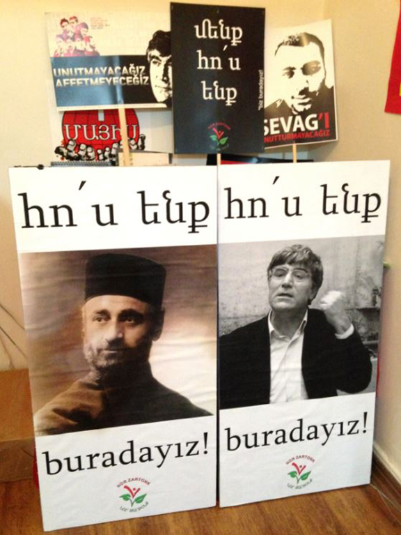"""Nor Zartonk posters featured portraits of Komitas and Hrant Dink declare, """"We Are Here!"""" (Photo: Nanore Barsoumian)"""