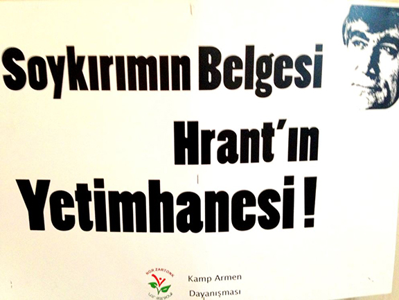 """A Nor Zartonk poster that reads, """"The Evidence for Genocide: Hrant's Orphanage!"""""""