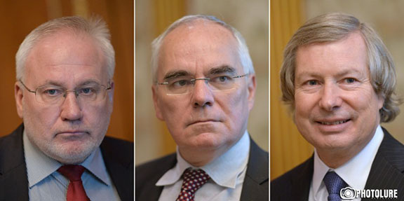 The Co-Chairs of the OSCE Minsk Group (from left to right) Ambassadors Igor Popov of the Russian Federation, Pierre Andrieu of France, and James Warlick of the United States of America (Source: Photolure)