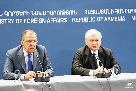 Russian Foreign Minister Sergei Lavrov (left) with Armenia's Foreign Minister Edward Nalbandian (MFA photo)