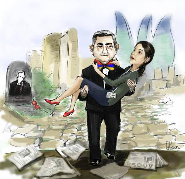 A cartoon circulated on social media showing Geybullayeva in the arms of Armenia's president, with her father's grave in the background.