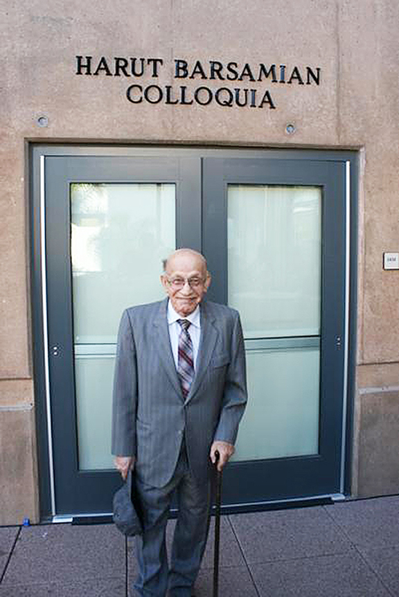 Professor Harut Barsamian after the naming of Colloquia at UC Irvine