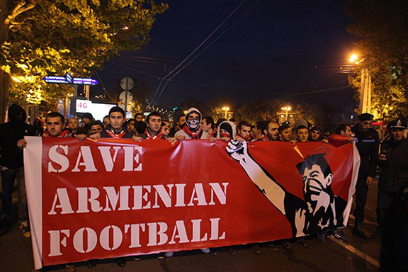Members of the First Armenian Front (FAF) football fan group march in Yerevan on Monday (Source: Photolure)