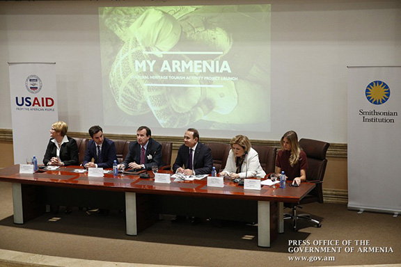 """Representatives of USAID, the Smithsonian Institute, and other government and private sector groups discuss the newly revealed """"My Armenia"""" Project (Source: Gov.am)"""