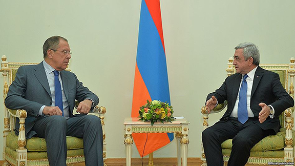 President Serzh Sarkisian (R) meets with Russian Foreign Minister Sergey Lavrov in Yerevan earlier this month (Source: RFE/RL)