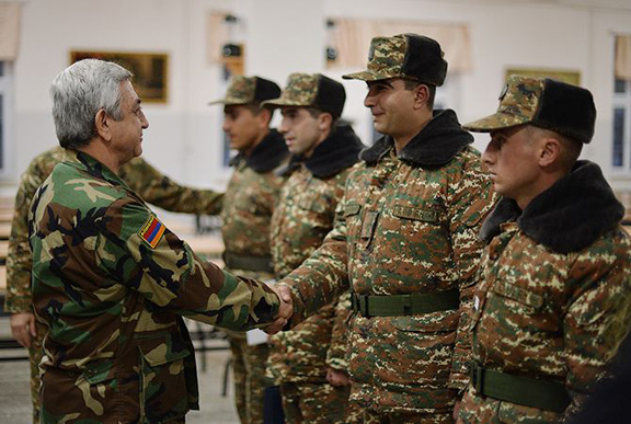 President Sarkisian meets with soldiers stationed in northeastern Armenia near the border with Azerbaijan (Source: President.am)