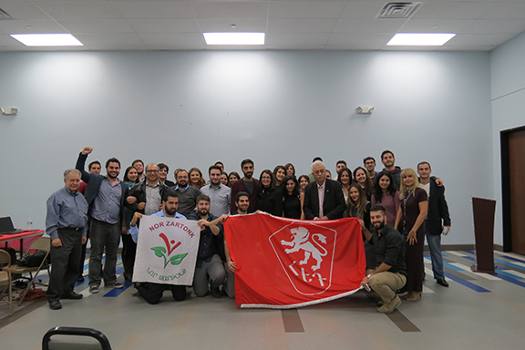 Sayat Tekir, spokesperson for Nor Zartonk, together with members of the Armenian Youth Federation