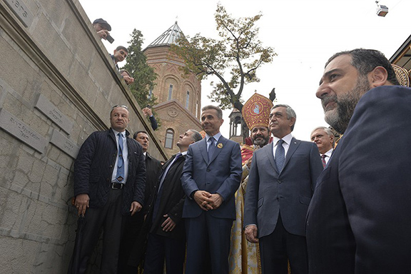 President Serzh Sarkisian and other Armenian officials attend the consecration ceremony of the newly restored Cathedral of St. George in Tbilisi (Source: Public Radio of Armenia)