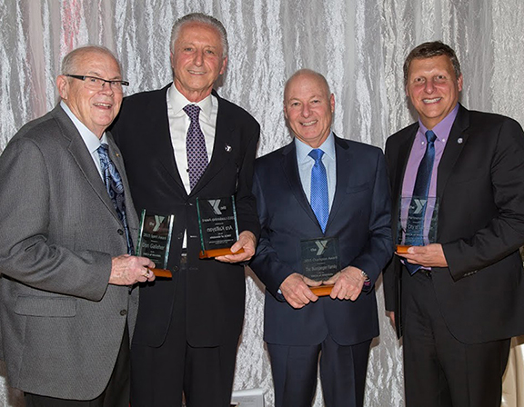 L-R:  Don Galleher, who received the Spirit Award; Ara Kalfayan, chairman of the board of directors of the YMCA of Glendale, who received the Leadership Award; Steve Bussjaeger, president of the Gregg Bussjaeger Foundation with the Champion Award; and Glendale Mayor Ara Najarian, who accepted the Partnership Award on behalf of the City of Glendale.