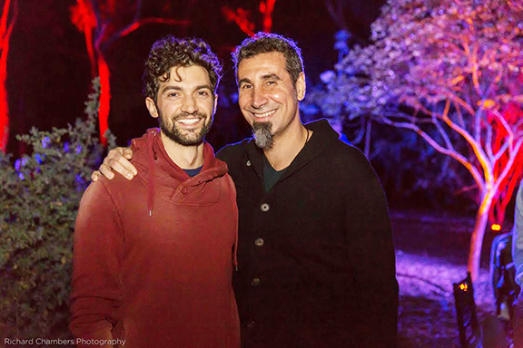 Actor David Alpay (left) and artist/activist Serj Tankian joined nearly 400 guests at an outdoor glamping benefit for ATP at TreePeople