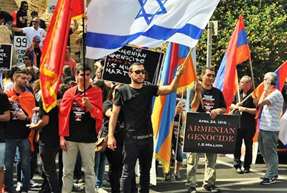 Protesters in Jerusalem demand Israel's recognition of the Armenian Genocide