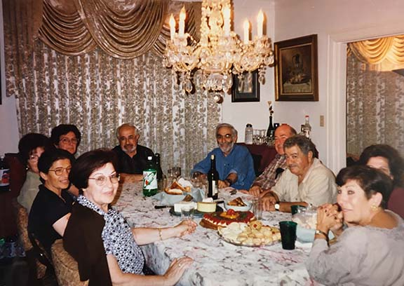 A typical gathering of close family friends at the Sassounis