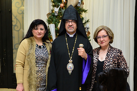 Western Prelate Archbishop Moushegh Mardirossian with Anahid Baghdadlian Ohanessian (right) and her daughter Silvie (left)