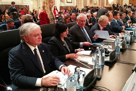 Armenian Foreign Minister Edward Nalbandian at the 24th Meeting of the OSCE Ministerial Council in Vienna on Thursday