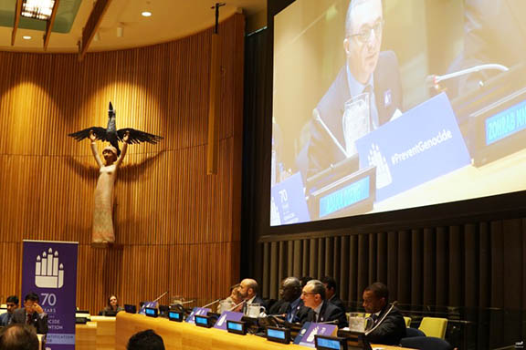 A scene from the panel discussion at the UN