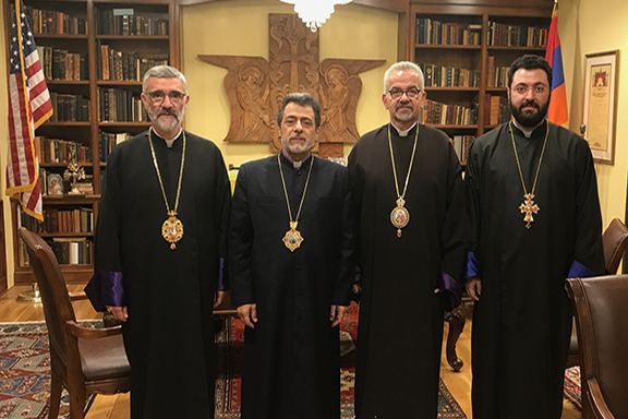 From left to right, Archbishops Shahan Sarkissian, Hovnan Derderian, Moushegh Mardirossian and Very Rev. Fr. Torkom Donoyan at the Diocese