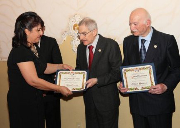 Dr. Misak Abdulian (right) was honored in 2014 by the Kessab Education Foundation