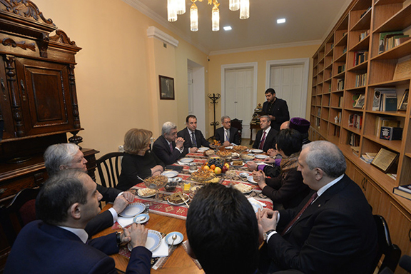 The president and first lady were treated to a traditional tea party at the Toumanian Museum and Cultural Center