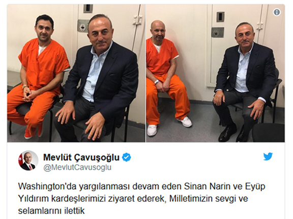 """Turkey Foreign Minister Mevlut Cavusoglu proudly tweeted his September jailhouse visit with Eyup Yildirim and Sinan Narin, arrested and charged for the Erdogan-ordered brutal beating of peaceful protesters in May.  The tweet reads: """"We visit and send the love and regards of our nation to our brothers Sinan Narin and Eyup Yildirim, who are under arrest in Washington."""""""