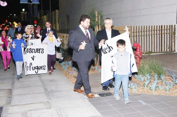Burbank Unified School District Board member Dr. Armond Aghakhani takes part in the walk