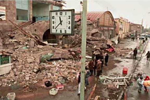 A clock in Gyumri stopped at 11:37 a.m., the time the devastating earthquake hit Armenia on Dec. 7, 1988