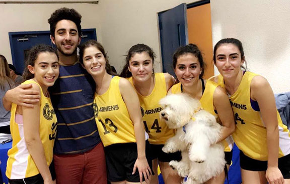 Nareg Kuyumjian with a few of his fellow classmates who graduated in 2017