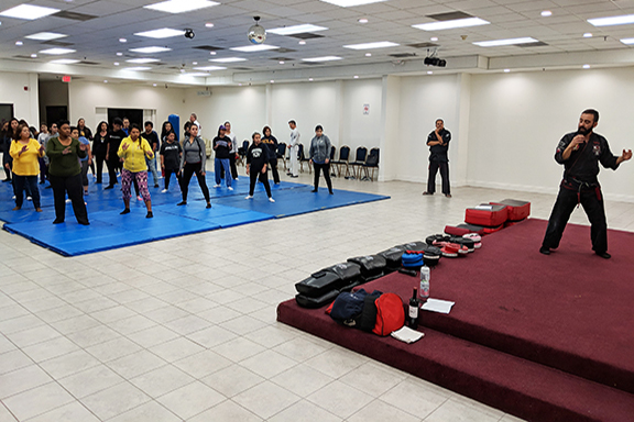 Women from Montebello receive self-defense training at the Armenian Center