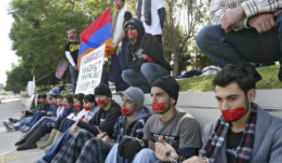 AYF members staged a silent sit-in/hunger strike to protest the Protocols in 2009