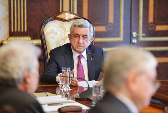 President Serzh Sarkisian during a National Security Council meeting Thursday when he announced the official nullification of the Protocols