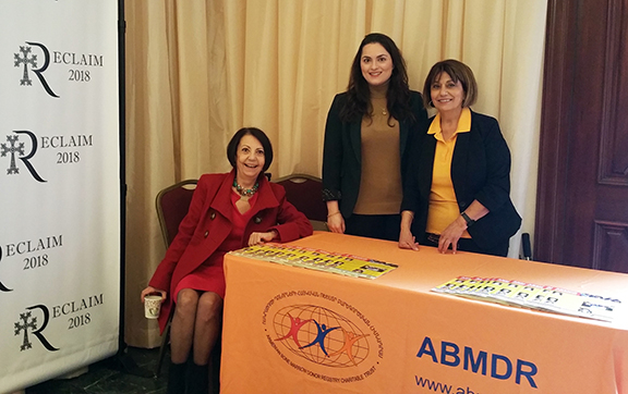 The ABMDR team, from left, Fimi Mekhitarian, Dr. Christina Ashjian, and Dr. Vergine Madelian, at the Reclaim Conference