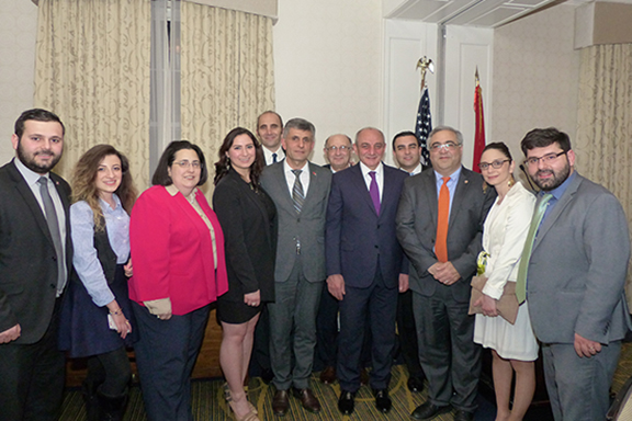 President Bako Sahakyan and Artsakh Parliamentarian Davit Ishkhanyan with the ANCA team in Washington DC.  The ANCA national, regional and local teams received the Artsakh Gratitude Medal for advancing U.S.-Artsakh relations.