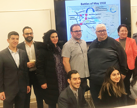 ATP and the Woodbury University Armenian Students Association cohosted a lecture on the Battle of Bash Aparan by Dr. Garabet Moumdjian, pictured here with (L to R) Nshan Blikian, Vache Thomassian, Lory Tatoulian, Jack Hadjinian, Anahit Gharibyan, and (kneeling) Jack Panossian, Nazeli Gharpetian