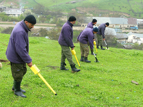 HALO Trust staffers are seen here clearing  mines in Nerkin Horatagh in Artsakh in 2016 (HALO Trust photo)