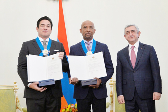 """President Serzh Sarkisian with """"Architects of Denial"""" producers Dean Cain (left) and Montel Williams (center)"""