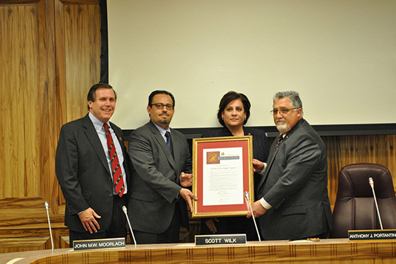 Senators Anthony Portantino and Scott Wilk presenting a resolution commemorating the 30th anniversary of the Sumgait Pogroms to ANCA-WR Chairperson Nora Hovsepian and Armenian Assembly of America Western Region Executive Director Mihran Toumajan