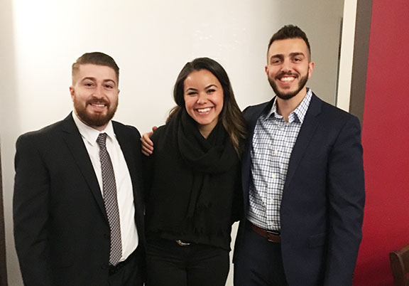 From l to r: ARS Javakhk Fund Committee Members Dickran Khodanian (ANC Western Region Community Relations Director), Carnie Armenian, and Puzant Berberian (AYF Central Executive)