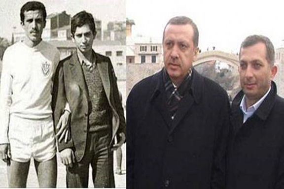 On the left, Turkish President Recep Tayyip Erdogan (in short shorts) with Metin Kuluk during their youth. On the right Erdogan and Kuluk in a recent photo
