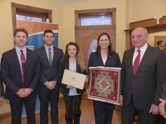"""The ANCA was honored to receive an Artsakh rug and Artsakh's """"Partez"""" teas from President Sahakian and his delegation"""