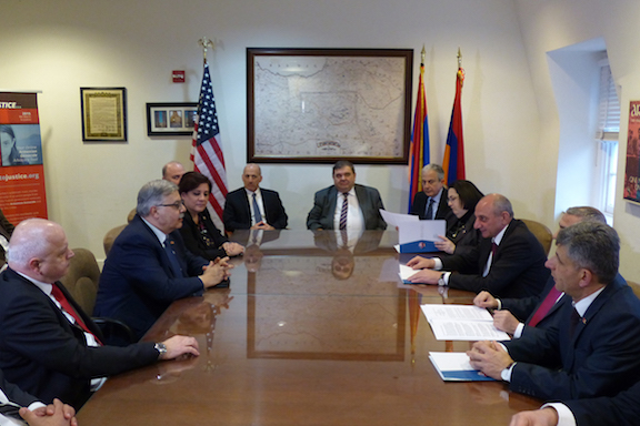 A scene from the Artsakh policy briefing held in the ANCA's Aramian Conference Room