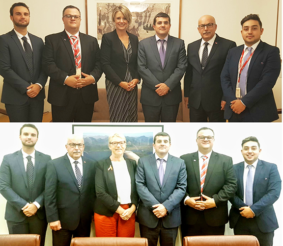 Top: Artsakh State Minister Arayik Harutunyan (third from right) and ANC of Australia delegation with Senator Janet Rice, Above: Artsakh State Minister Arayik Harutunyan (third from right) and ANC of Australia delegation with Senator Kristina k Keneally