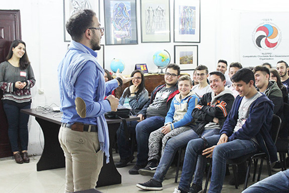 A scene from the empowerment seminars for Syrian-Armenian youth
