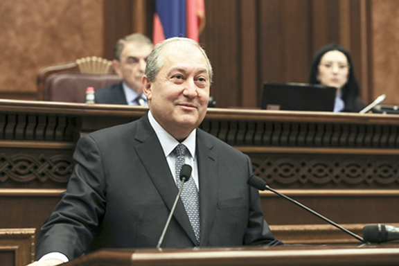 Dr. Sarkissian after a parliament vote of Friday selecting him as Armenia's next president