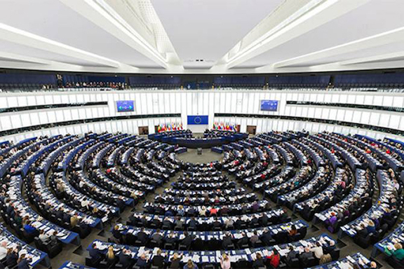 The European Parliament chambers in Brussels, Belgium.