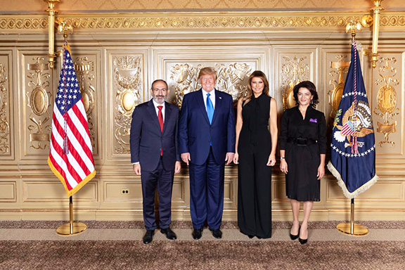 Prime Minister Nikol Pashinyan and his spouse, Ana Hakobyan with President Donald Trump and First Lady, Melania in New York