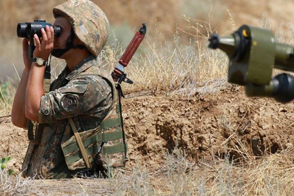 An Artsakh soldier monitoring the line of contact