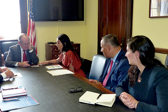ANCA Idaho Chairwoman Liyah Babayan shares Idaho community priorities with Senate Foreign Relations Committee Chairman James Risch (R-ID) as part of an ANCA delegation including ANCA Chairman Raffi Hamparian, ANCA Government Affairs Director Tereza Yerimyan, and ANCA Western Region Executive Director Armen Sahakyan (not pictured)