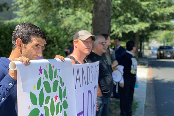 A scene from the ANCA-supported protest at the Turkish Embassy in Washington, D.C. calling for the release of the unjustly jailed mayors of Amed, Mardin, and Van