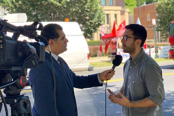 People's Democratic Party (HDP) Representative in the U.S. Giran Ozcan interviewed by Kurdistan 24 Television at the Turkish Embassy protest